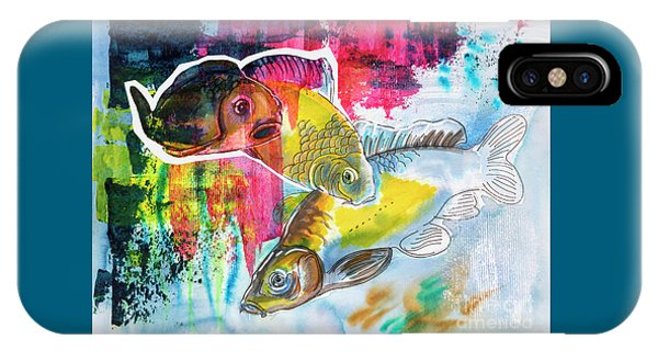 IPhone Case featuring the painting Fishes In Water, Original Painting by Ariadna De Raadt