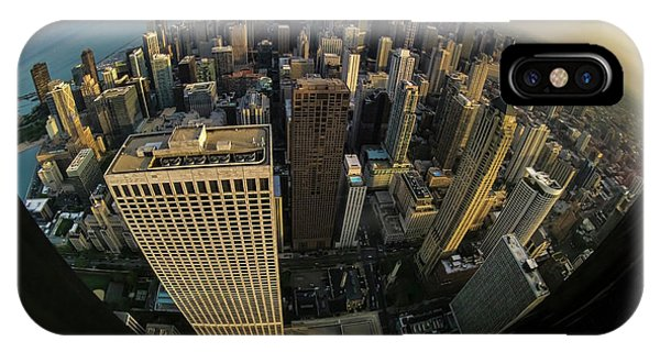 Fisheye View Of Dowtown Chicago From Above  IPhone Case