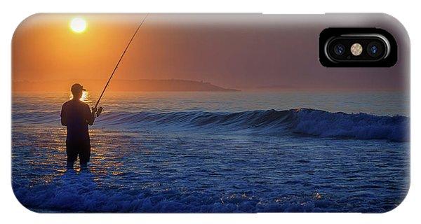 Orchard Beach iPhone Case - Fishing At Sunrise by Rick Berk