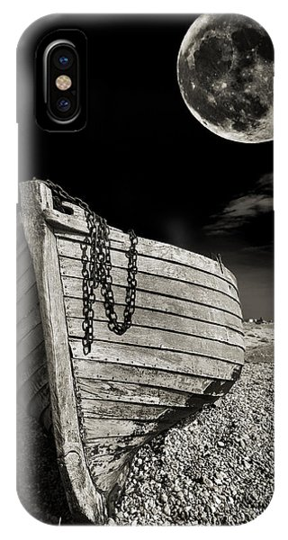 Moon iPhone Case - Fishing Boat Graveyard 3 by Meirion Matthias