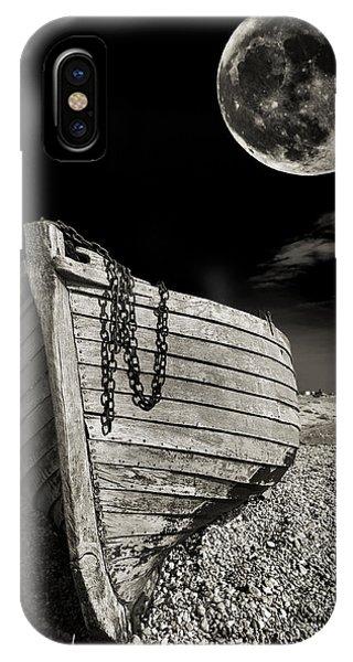 Moon iPhone X Case - Fishing Boat Graveyard 3 by Meirion Matthias
