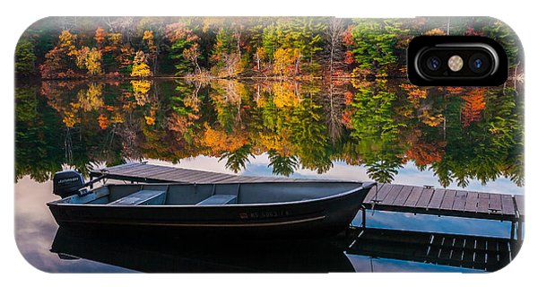 Fishing Boat On Mirror Lake IPhone Case