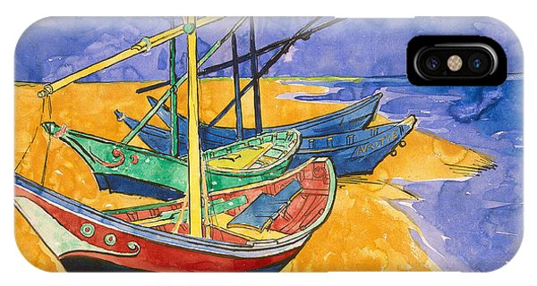 Fishing Boat iPhone Case - Fishing Boats On The Beach At Saintes Maries De La Mer by Vincent Van Gogh