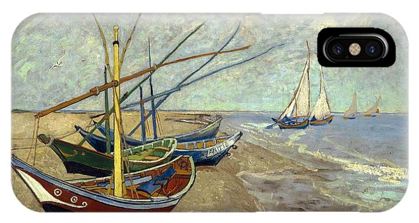 IPhone Case featuring the painting Fishing Boats On The Beach by Van Gogh