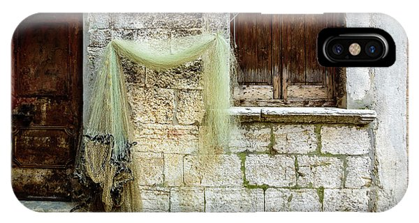 Fishing Net Hanging In The Streets Of Rovinj, Croatia IPhone Case