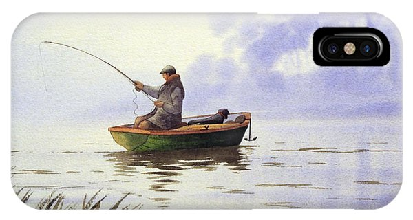 Fisherman iPhone Case - Fishing With A Loyal Friend by Bill Holkham