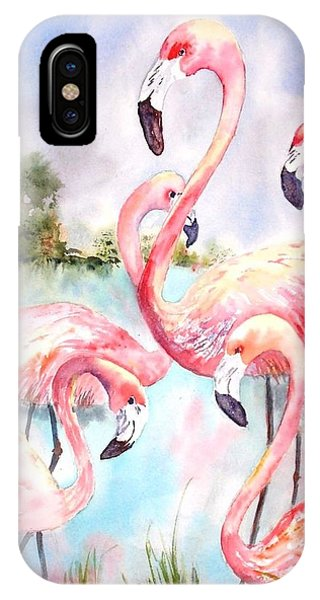 Five Flamingos IPhone Case