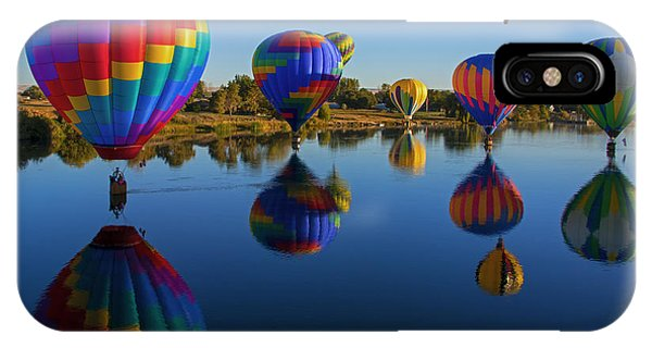 Hot Air Balloons iPhone Case - Five On The Water by Mike Dawson
