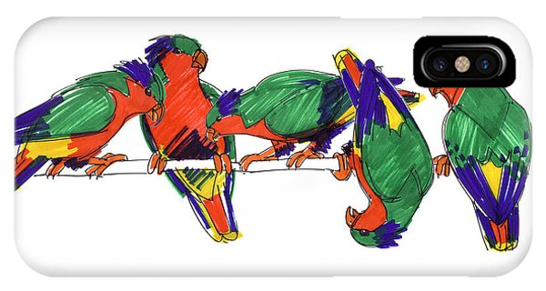 IPhone Case featuring the drawing Five Rimatara Lorikeets by Judith Kunzle