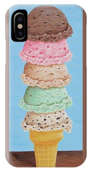 IPhone Case featuring the painting Five Scoop Ice Cream Cone by Nancy Nale