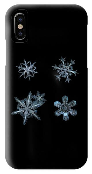 Five Snowflakes On Black 3 IPhone Case