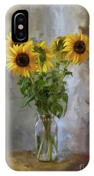 Sunflower iPhone Case - Five Sunflowers Centered by Lois Bryan