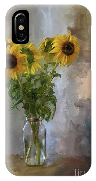 Sunflower iPhone Case - Five Sunflowers by Lois Bryan