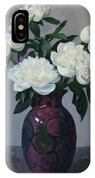 Five White Peonies In Purple Vase IPhone Case