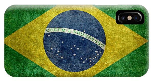 Flag Of Brazil Vintage 18x24 Crop Version IPhone Case