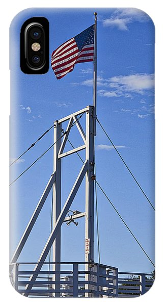 Flag On Perkins Cove Bridge - Maine IPhone Case