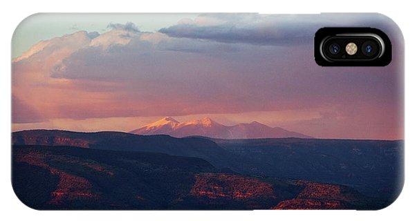 Flagstaff's San Francisco Peaks Snowy Sunset IPhone Case
