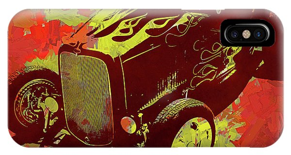 Flamed 1932 Ford Roadster Hot Rod Pop Red IPhone Case