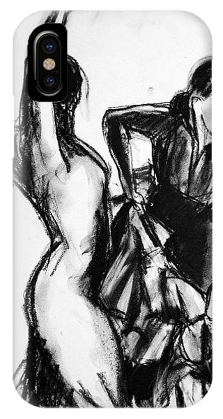 Spin iPhone Case - Flamenco Sketch 1 by Mona Edulesco