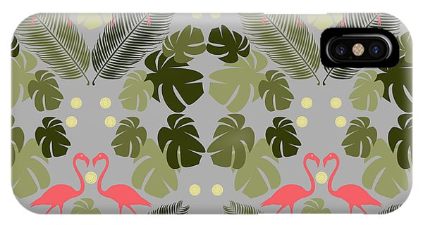 Repeat iPhone Case - Flamingo And Palms by Claire Huntley