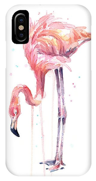 Flamingo Illustration Watercolor - Facing Left IPhone Case
