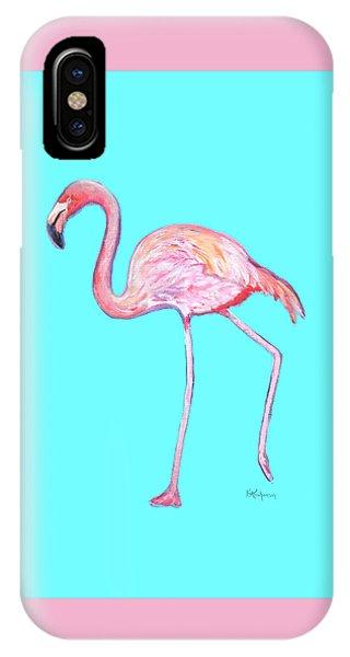Flamingo On Blue IPhone Case