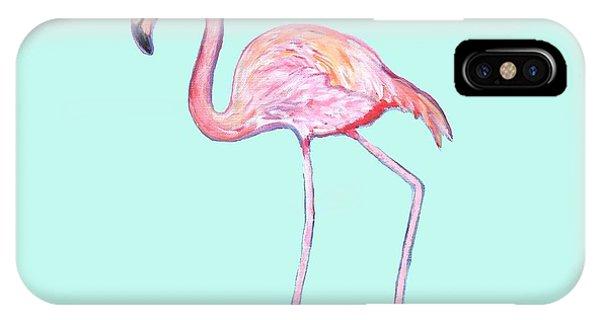 Flamingo On Mint Background IPhone Case