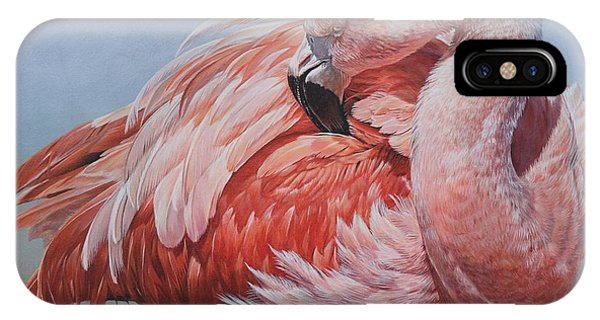 IPhone Case featuring the painting Flamingo Preening by Alan M Hunt