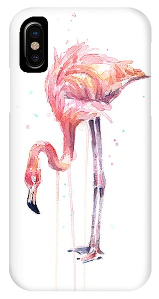 Flamingo Watercolor - Facing Left IPhone Case