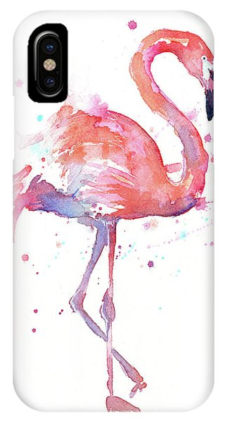 Bird Watercolor iPhone Case - Flamingo Watercolor Facing Right by Olga Shvartsur