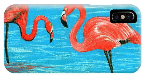 IPhone Case featuring the painting Flamingos by Anastasiya Malakhova