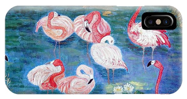 Flamingos Diptich Right IPhone Case