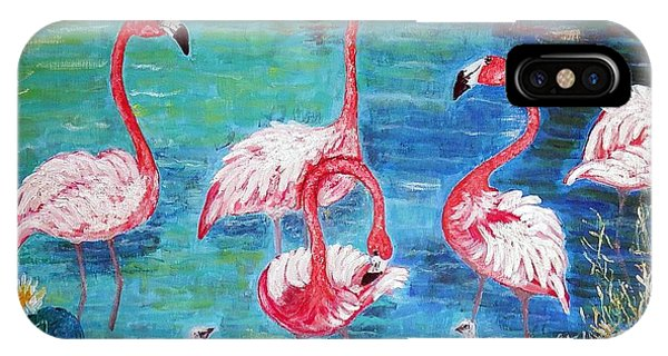 Flamingos Diptich Left IPhone Case
