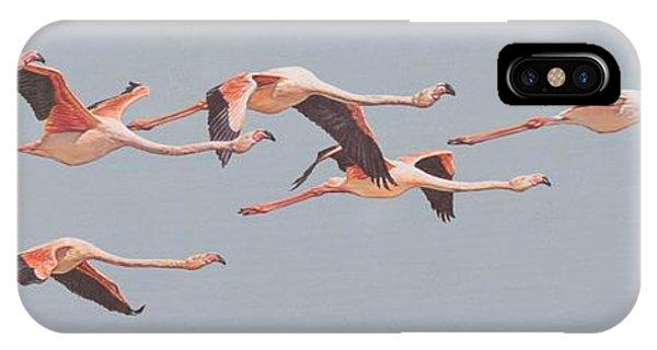 Flamingos In Flight IPhone Case
