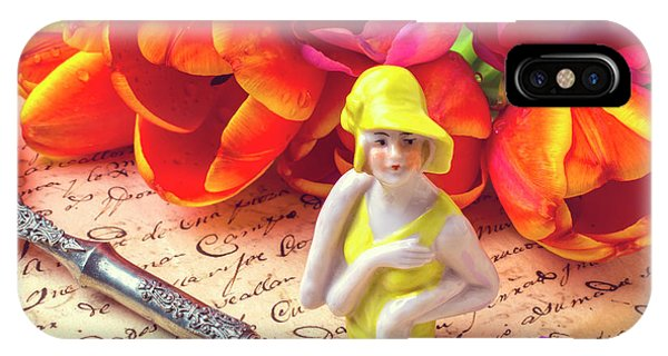 Flapper Doll And Tulips IPhone Case