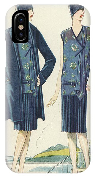 Blue Dress iPhone Case - Flappers In Frocks And Coats, 1928  by American School