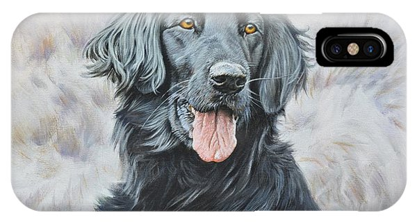 IPhone Case featuring the painting Flat Coated Retriever Portrait by Alan M Hunt