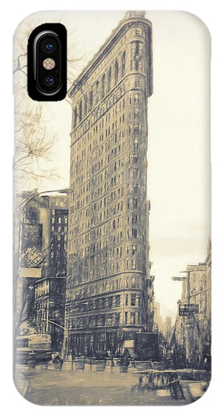 Park Bench iPhone Case - Flat Iron Building North Side - Sketch by Sue Schwer