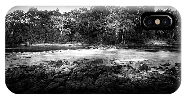 Cypress iPhone Case - Flint River Rapids B/w by Marvin Spates