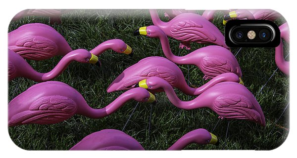 Pink iPhone Case - Flock Of  Plastic Flamingos by Garry Gay
