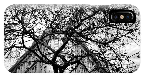 Flood Building - San Francisco - Corner Tree View Black And White IPhone Case