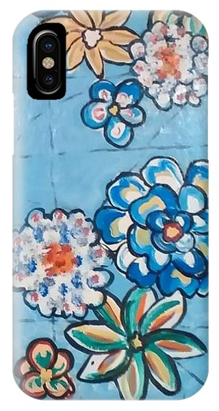 Floor Cloth Blue Flowers IPhone Case