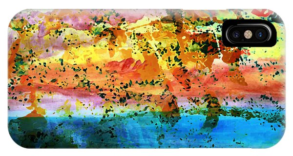 IPhone Case featuring the painting Rustic Landscape Abstract  D2131716 by Mas Art Studio