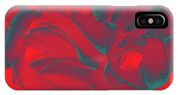 Floral Abstract In Dramatic Red IPhone Case