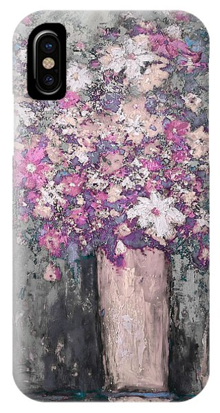 Floral Abstract - Reverse - Modern Impressionist Palette Knife Work IPhone Case