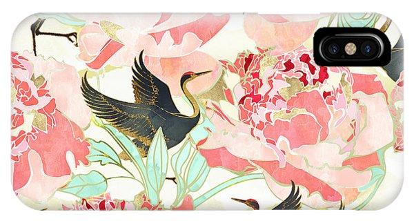 Contemporary Floral iPhone Case - Floral Cranes by Spacefrog Designs