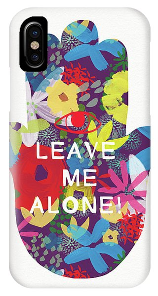 Floral Leave Me Alone Hamsa-art By Linda Woods IPhone Case