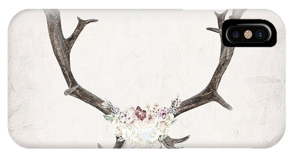 Floral Reindeer Skull  IPhone Case