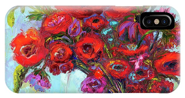 IPhone Case featuring the painting Red Poppies In A Vase, Summer Floral Bouquet, Impressionistic Art by Patricia Awapara