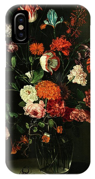 Floral Still Life In A Niche With Stag Beetle IPhone Case